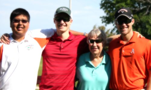 Norma Moeggenborg with her grandsons Noah, Paul, and Adam