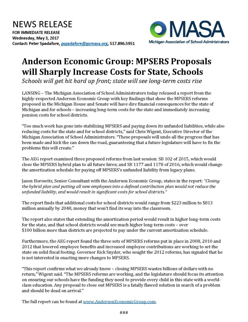 Thomas organ company pension - Anderson Economic Group Mpsers Proposals Will Sharply Increase Costs For State Schools